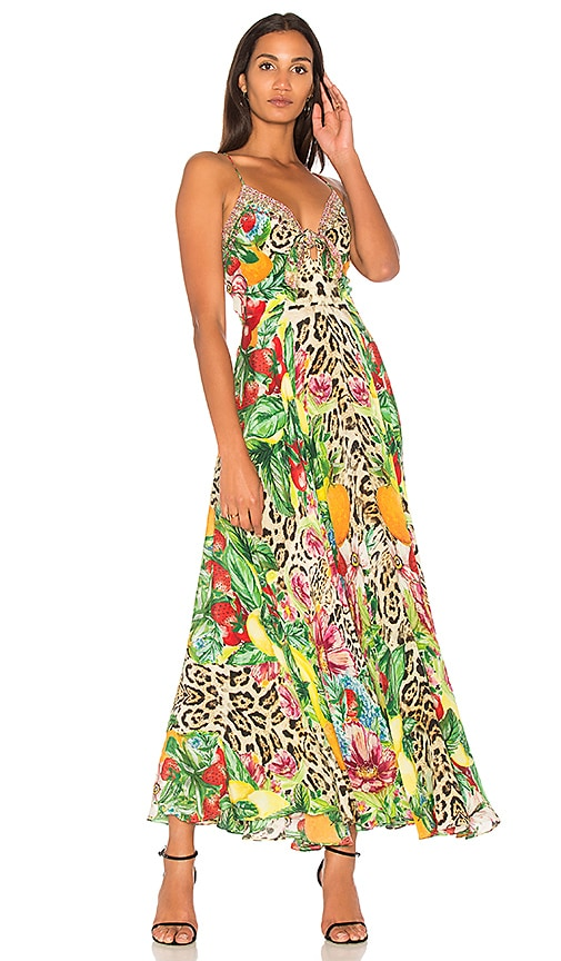 Camilla Tie Front Maxi Dress in Yellow