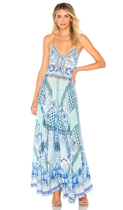 Camilla Tie Front Dress in Blue