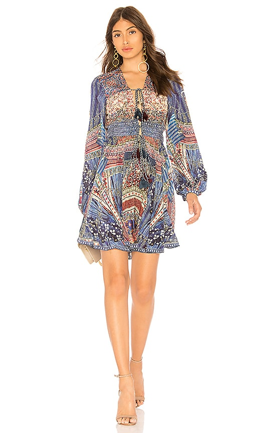 Camilla Peasant Mini Dress in Blue