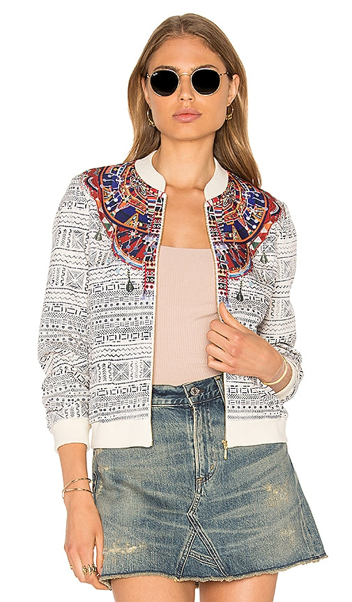 Camilla Printed Stretch Bomber Jacket in White