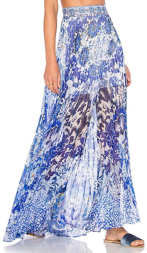 Camilla Pleated Full Hem Skirt in Blue