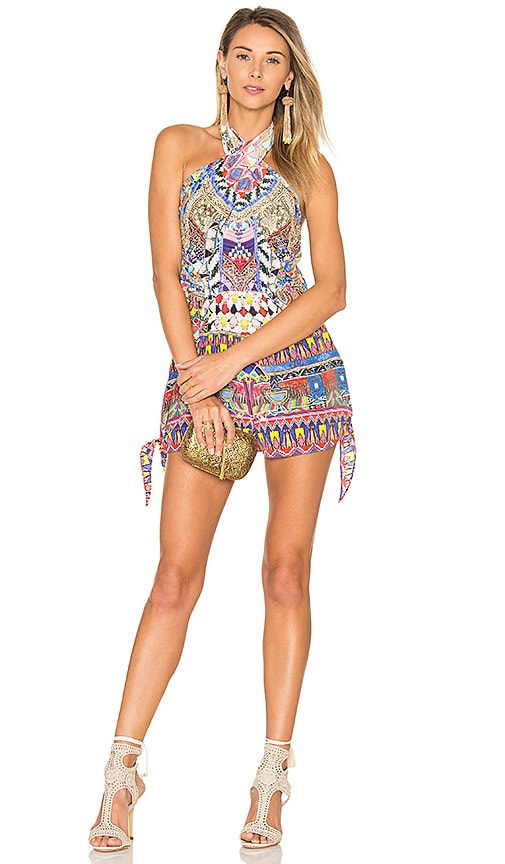 Camilla Tie Front and Sides Romper in Purple