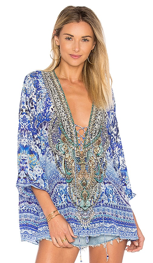 Camilla Lace Up Blouse in Blue