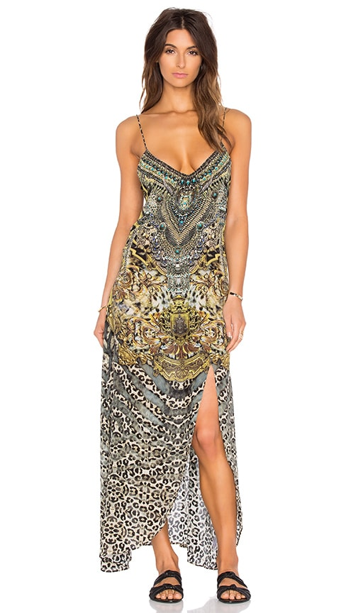 Camilla Low V Back Split Long Dress in Armada