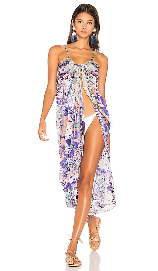 Camilla Tie Front Cover Up Dress in Purple