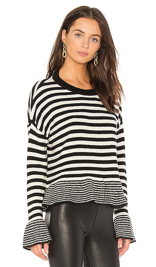 Cinq a Sept Stripe Seren Pullover in Black & White