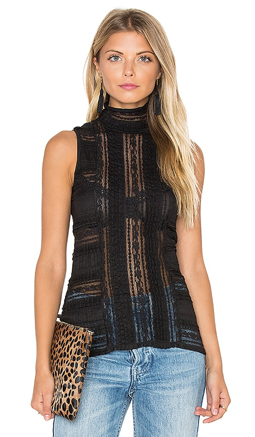 Cinq a Sept Sleeveless Antonia Turtleneck Top in Black