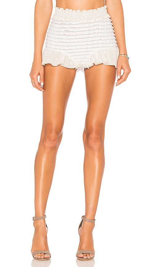 CHIO Ruffle Shorts in White
