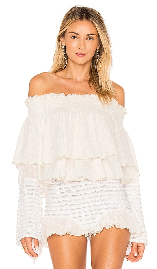 CHIO Off the Shoulder Ruffle Top in White