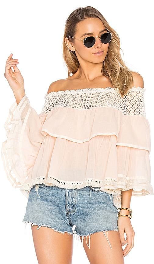 CHIO Ruffle Top in Beige
