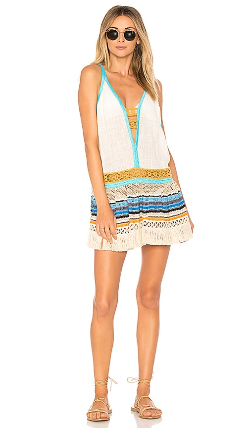 CHIO Deep V Fringe Mini Dress in White