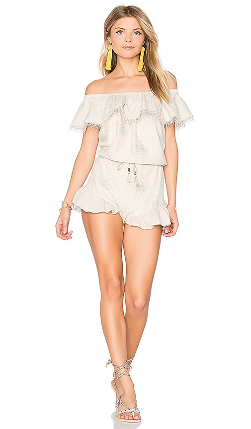 CHIO Off the Shoulder Romper in Beige