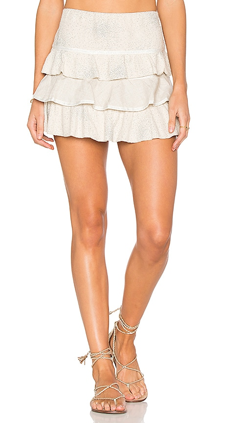 CHIO Ruffle Mini Skirt in Beige