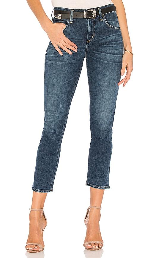 Elsa Crop Slim Jeans, Metallic Gold