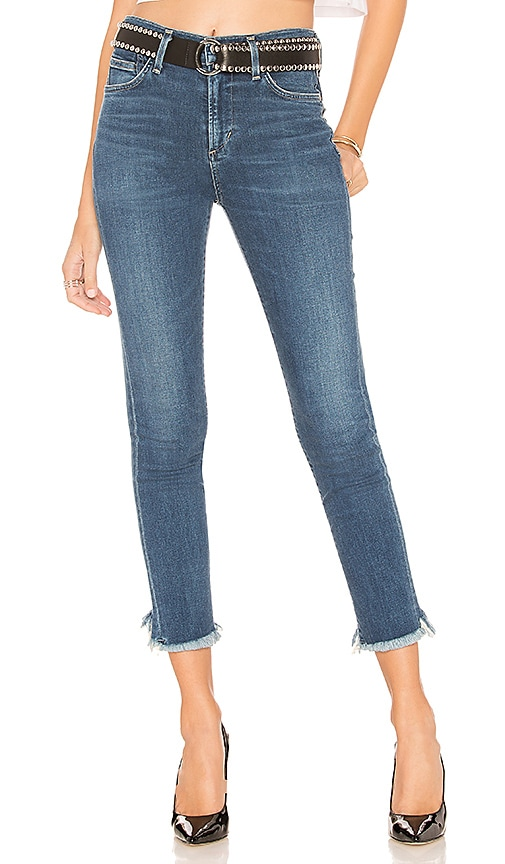 Rocket Cropped High-Rise Jeans With Chewed Hem in Blue