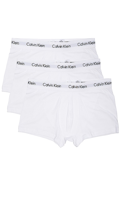 Calvin Klein Underwear Cotton Stretch 3 Pack Low Rise Trunks in White