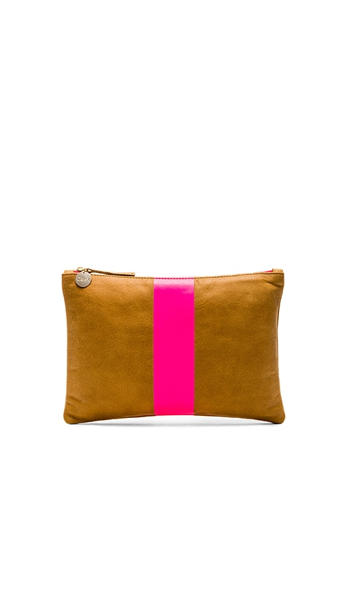 Clare V. Flat Clutch in Camel & Neon Pink