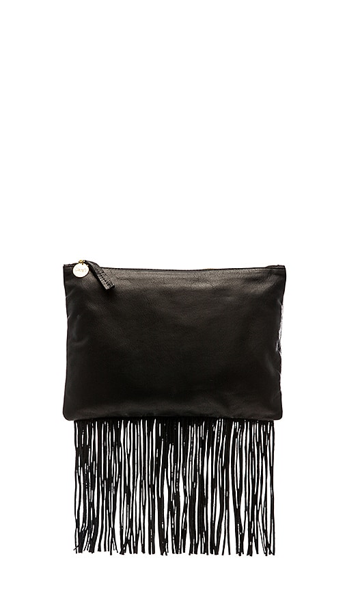 Clare V. Fringe Flat Clutch in Black Leather