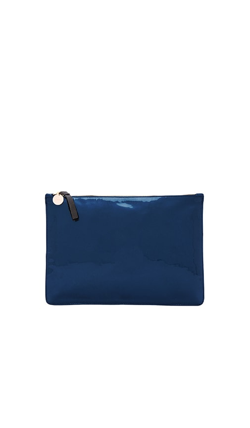 Clare V. Supreme Flat Clutch in Prussian Blue Patent