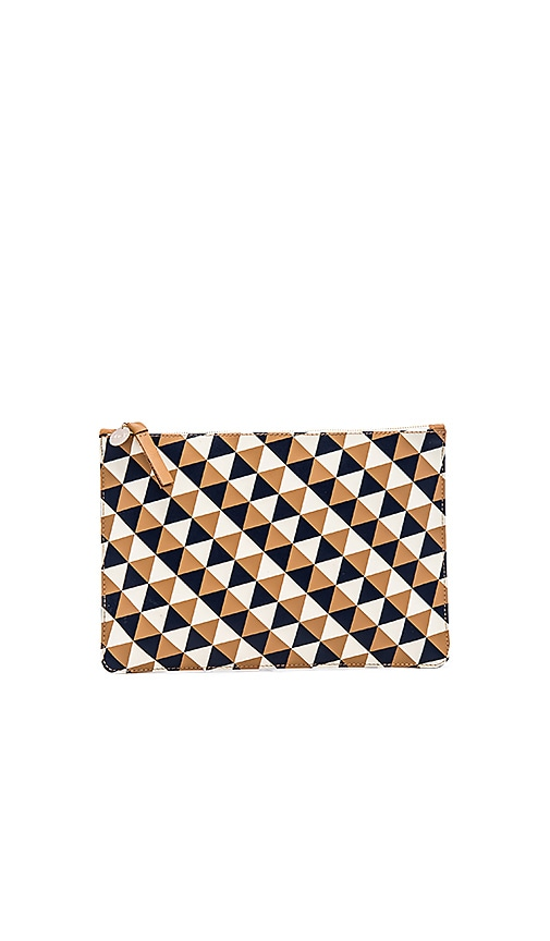 Clare V. Flat Clutch in Camel, Navy & Cream Diamond