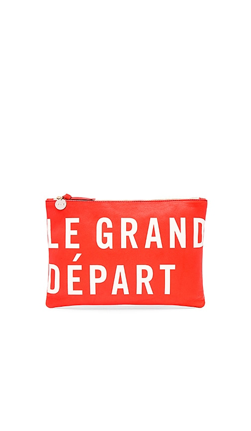 Clare V. Flat Clutch in Poppy Nappa & Cream Le Grand Depart Print
