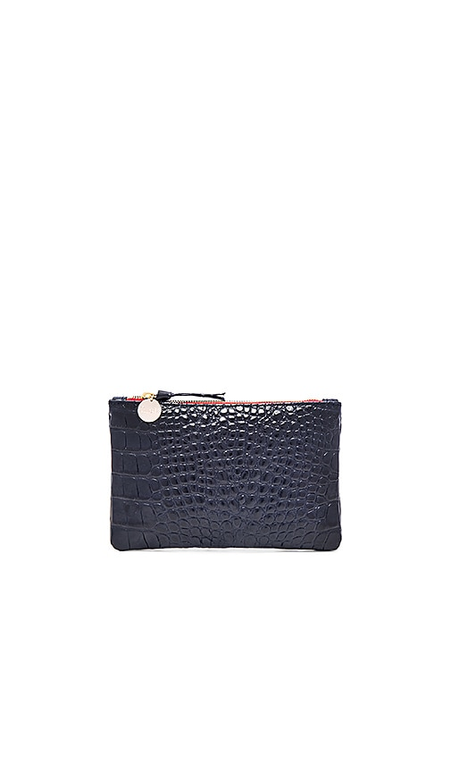 Clare V. Wallet Clutch in Ink Croco
