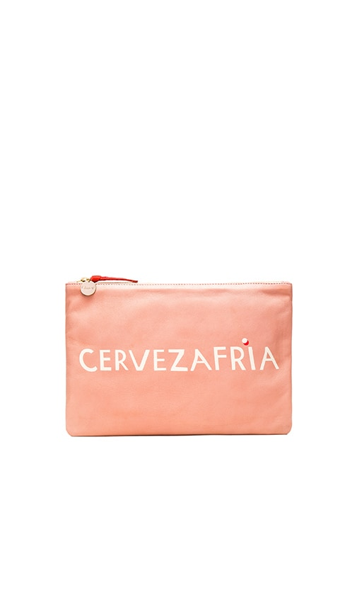 Clare V. Flat Clutch in Blush