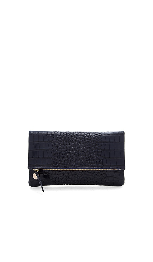 Clare V. Foldover Supreme Clutch in Navy