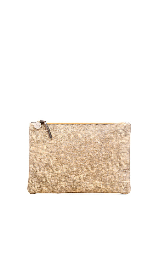 Clare V. Flat Supreme Clutch in Metallic Gold