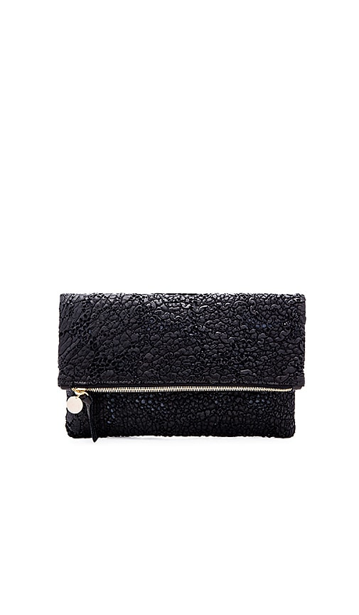 Clare V. Foldover Supreme Clutch in Black Lace
