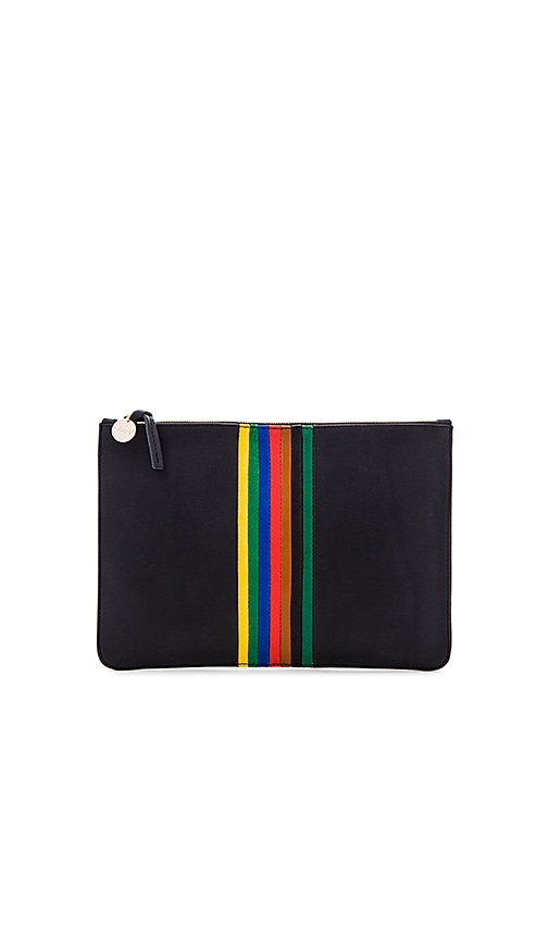 Clare V. Rainbow Margot Flat Supreme Clutch in Black