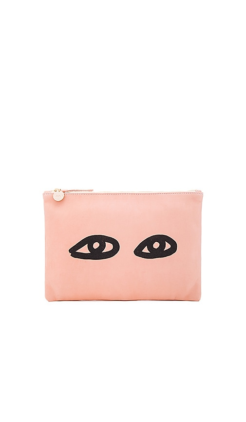 Clare V. Flat Supreme Clutch in Blush & Black