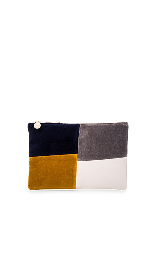 Clare V. Patchwork Grid Flat Clutch in Navy
