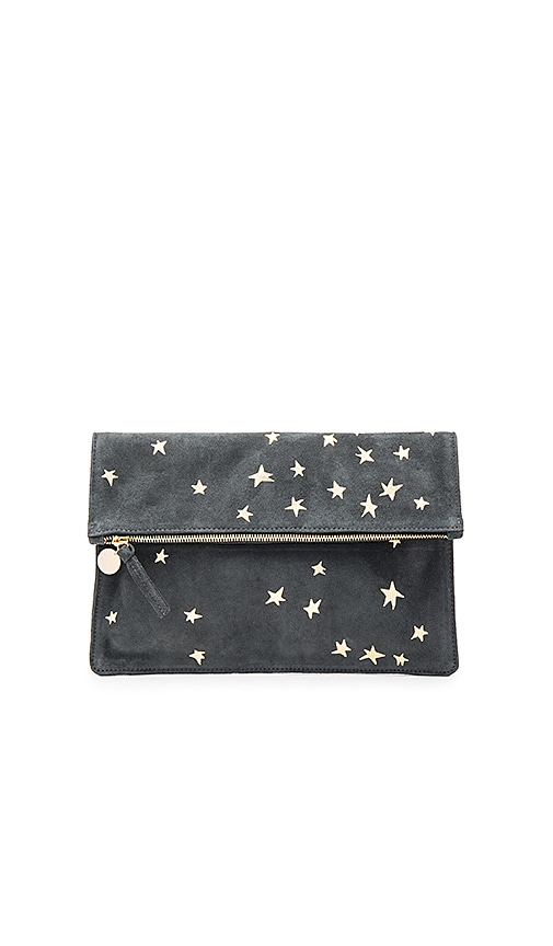 Clare V. Margot Supreme Foldover Clutch in Charcoal