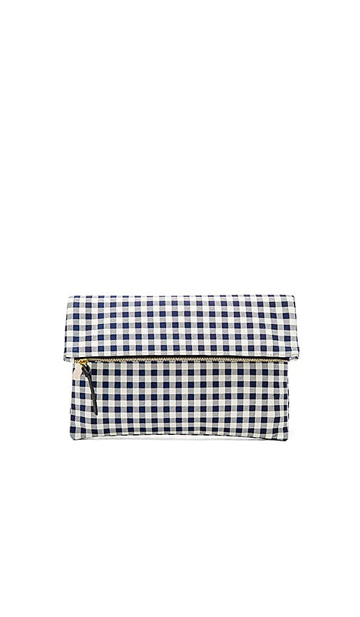 Clare V. Supreme Foldover Clutch in Navy