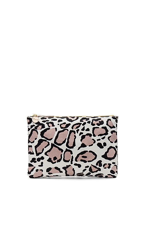 Clare V. Hair On Flat Clutch in Beige