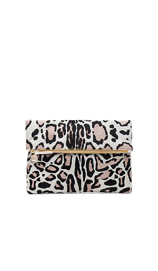 Clare V. Hair On Foldover Clutch in Beige
