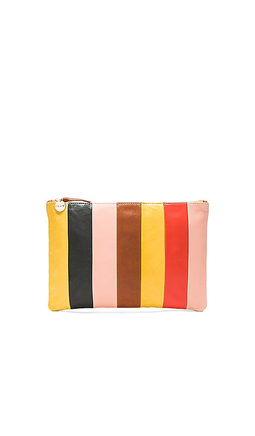 Clare V. Patchwork Flat Clutch in Yellow