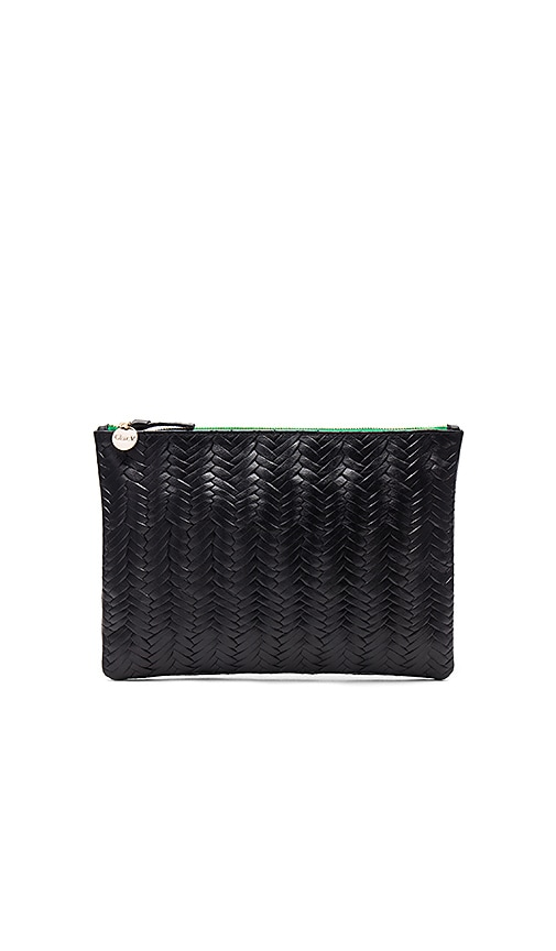 Clare V. Flat Supreme Clutch in Black
