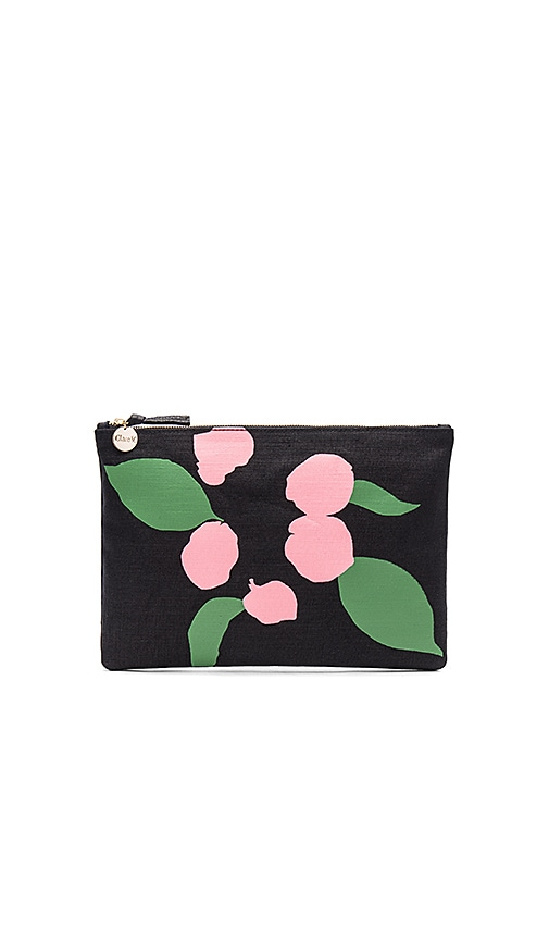 Clare V. Flat Canvas Clutch in Black