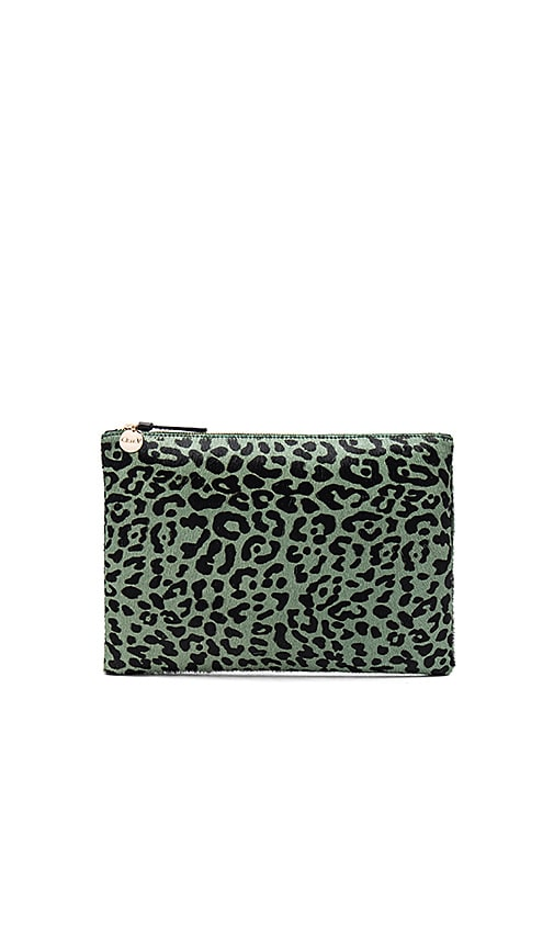 Clare V. Flat Hair On Clutch in Sage