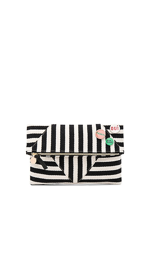 Clare V. Patchwork V Foldover Clutch With Pins in Black & White