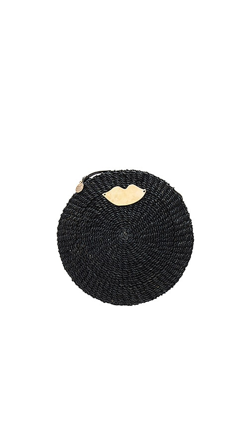 Clare V. Woven Circle Clutch in Black