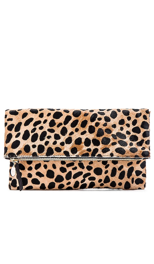 Clare V. Foldover Calf Hair Clutch in Leopard