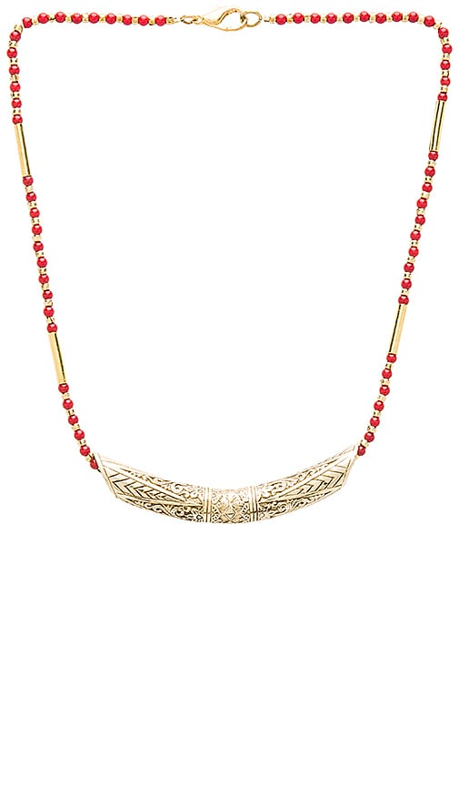 Cleobella Suki Necklace in Brass & Coral