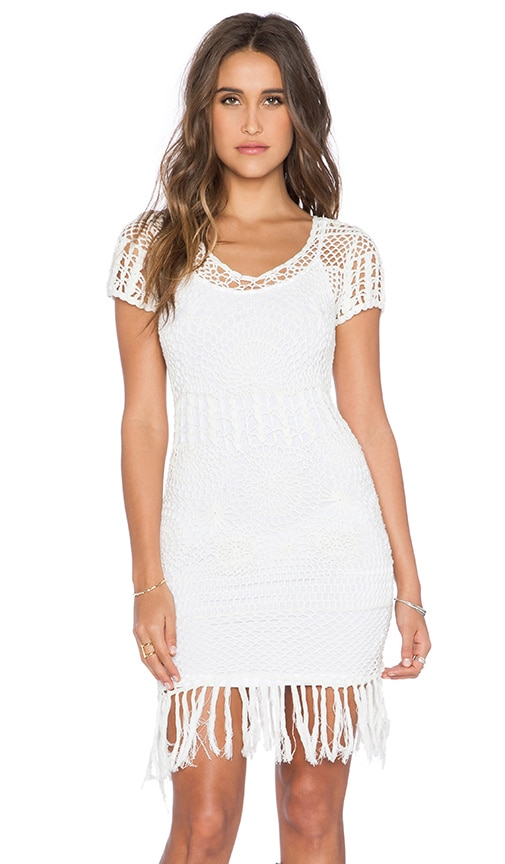X REVOLVE Lennon Short Dress in White. - size M (also in L,S,XS) Cleobella