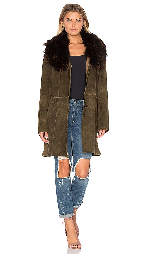 Cleobella Zella Jacket with Raccoon Fur Trim in Brown