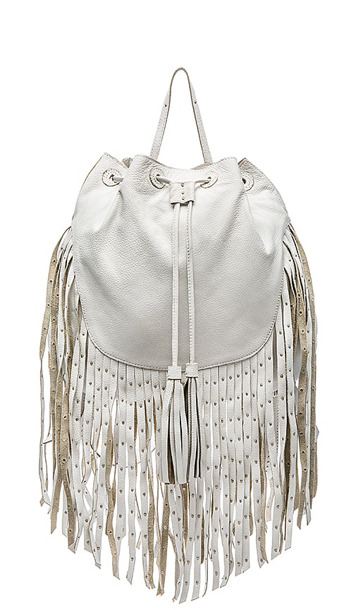Leather fringe backpack