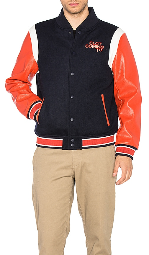 CLOT x REVOLVE Stadium Jacket in Navy