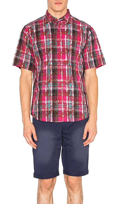 CLOT Overlapped Pattern Checker Shirt in Red